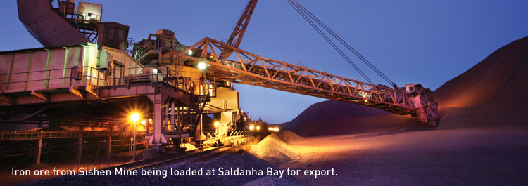 Iron ore from Sishen Mine being loaded at Saldanha Bay for export.
